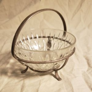 Vintage Silver Plated & Cut Glass Candy Dish
